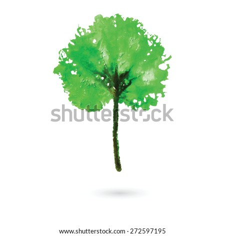 Watercolor natural leaf made in the original technique. Eco logo, creative work. Isolated object on a white background. Painted by hand.  - stock vector