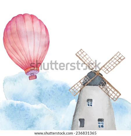 Watercolor Netherlands background. Hand drawn vintage illustration with windmill and hot air balloon in cloudly sky - stock vector