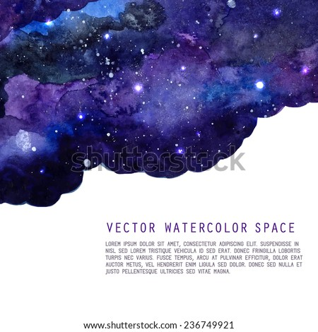 Watercolor night sky background with stars. Vector cosmic layout with space for text.   - stock vector