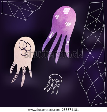 Watercolor octopuses and medusa. Vector illustration. EPS 10 - stock vector