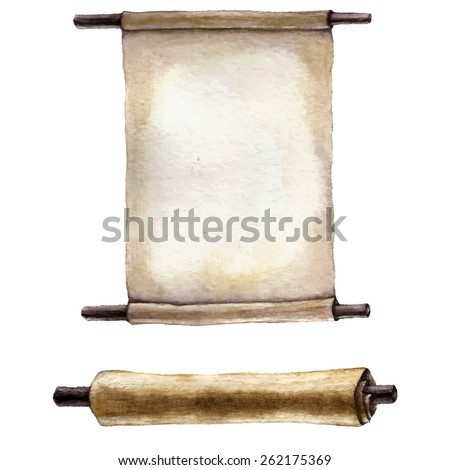 Watercolor old scroll paper. - stock vector