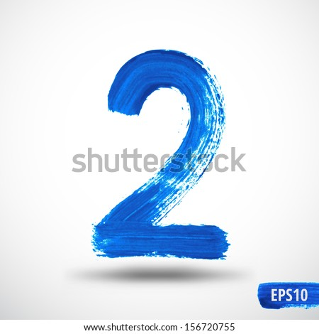 Watercolor One Number. Grunge Background - stock vector