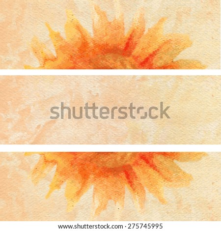 Watercolor orange background with Sunflower. Can be used for banner, cards, wedding invitations etc. - stock vector
