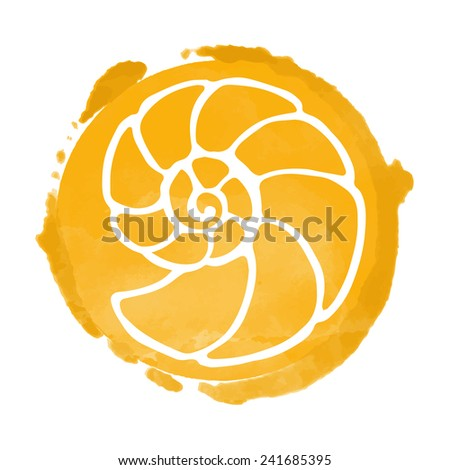 Watercolor orange circle paint stain and white sea shell icon closeup isolated on a white background, art logo design  - stock vector