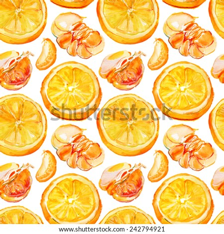 Watercolor orange slices with green leaves, seamless background. Vector illustration. - stock vector