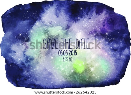 Watercolor outer space background. Galaxy design - stock vector