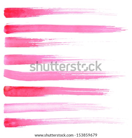 Watercolor paint brush strokes. Paint brush texture pink red watercolor spot blotch isolated on white background.  - stock vector