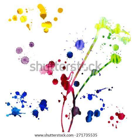 Watercolor paint splash. Vector illustration - stock vector