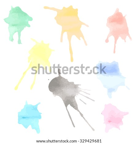 Watercolor Paint Splashes - stock vector