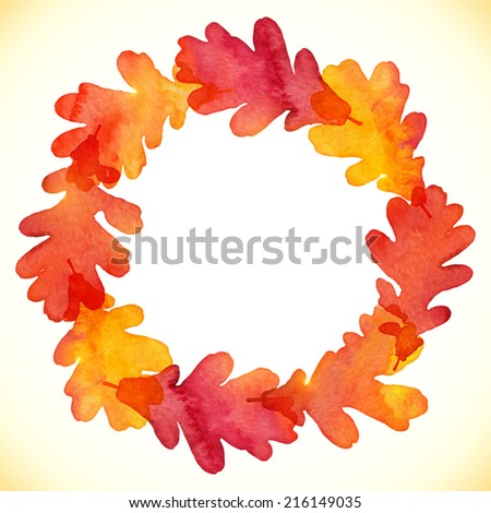 Watercolor painted oak leaves vector round frame - stock vector