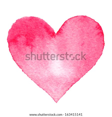 Watercolor painted pink heart, vector element for your design - stock vector