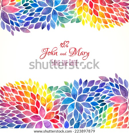 Watercolor painted rainbow colors vector invitation template - stock vector