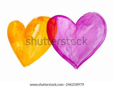 Watercolor painted transparent hearts. Hand drawn, vector illustration. Graphic elements for Valentine's day design.