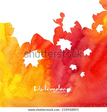 Watercolor painted vector background with white maple leaves silhouettes - stock vector