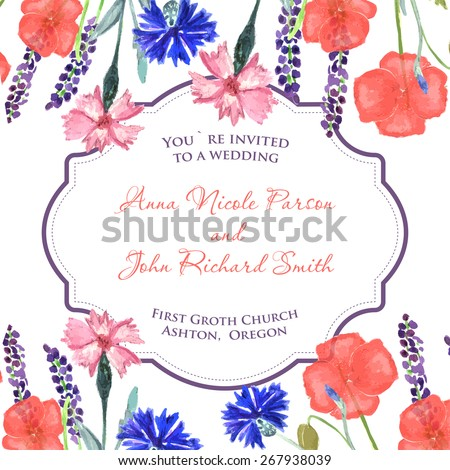 Watercolor painted wedding invitation. Cornflower, lavender, sweet pea  and poppy flowers pattern. - stock vector