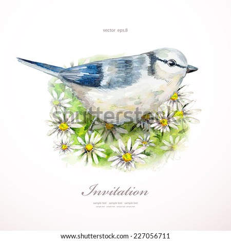 watercolor painting cute bird on flowers. vector illustration. invitation card  - stock vector