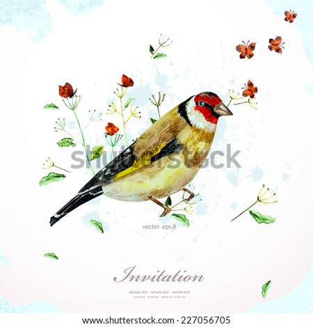 watercolor painting cute bird with flowers. vector illustration. template for your design - stock vector