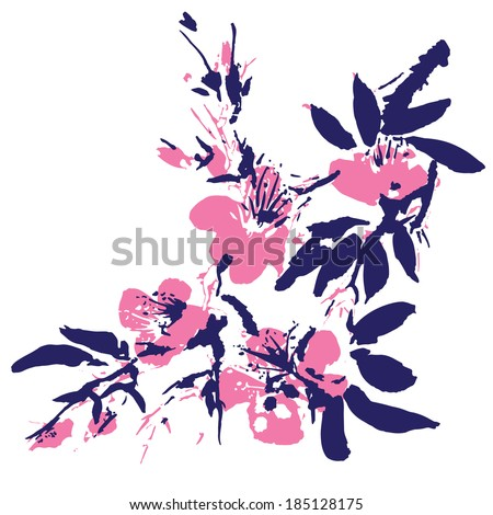 Watercolor painting - flowers in the Chinese style - stock vector