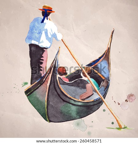 Watercolor painting of Gondola with gondolier on a canal in Venice on a sunny day. Vector illustration on craft paper background. - stock vector