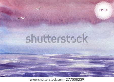 Watercolor painting of violet sea and purple sky, seagulls. Vector illustration EPS10. - stock vector