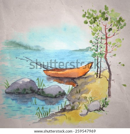 Watercolor painting on a craft paper background. A bank of a lake or a river with a fisherman boat with fishing roods in it, stones and pines. Vector illustration. - stock vector