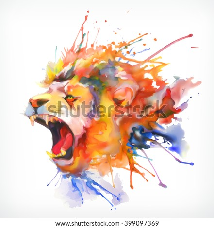 Watercolor painting. Roaring lion, vector illustration, isolated on a white background - stock vector