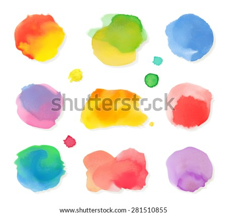 Watercolor painting, vector icon set - stock vector