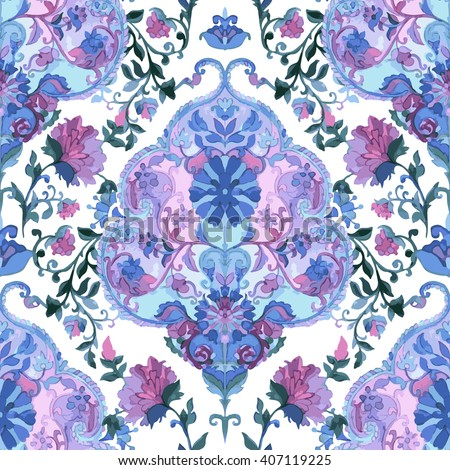 Watercolor Paisley Seamless Background. Cold Colors. Indian, Persian or Turkish Art. Vector Handdrawn Pattern. Decorative ornament  for fabric, textile, wrapping paper, card, invitation, wallpaper. - stock vector