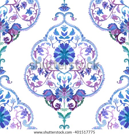Watercolor Paisley Seamless Background on White. Cold Colors. Indian, Persian or Turkish Art. Vector Handdrawn Pattern. Watercolor Vector Seamless Pattern. Indian Art. India Paisley Ornament. - stock vector