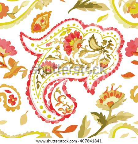 Watercolor Paisley Seamless Background on White. Cold Colors. Indian, Persian or Turkish Art. Vector Handdrawn Pattern. Watercolor seamless background pattern. Vector seamless pattern illustration. - stock vector
