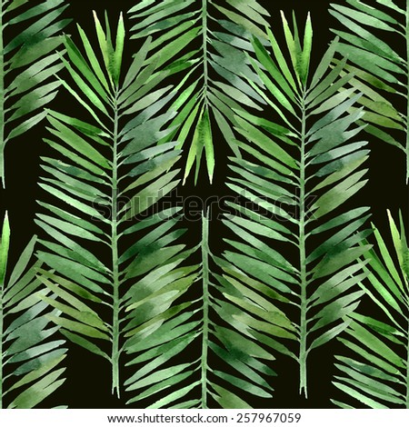 watercolor palm tree leaf seamless pattern on black background - stock vector