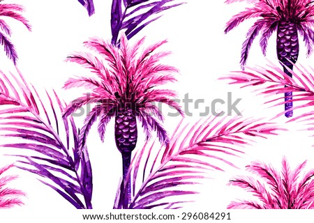 Watercolor palm trees and tropical palm leaves. Beautiful seamless vector jungle floral pattern background - stock vector
