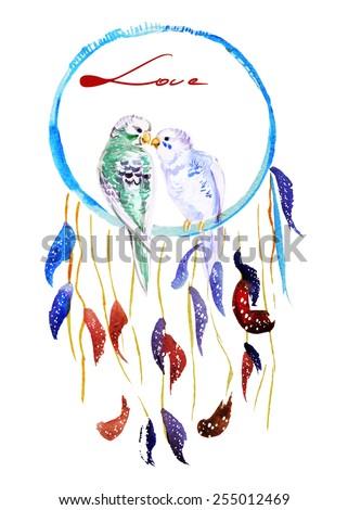 Watercolor parrots in dream catcher, vector - stock vector