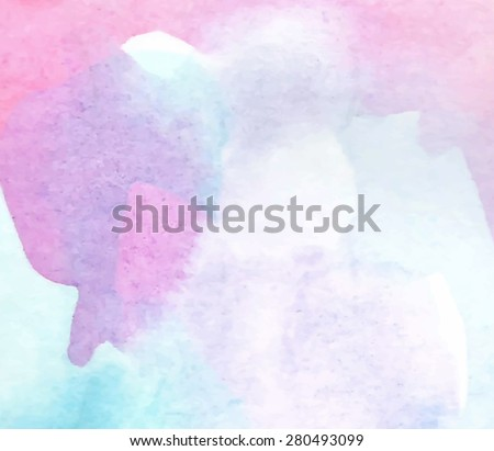Watercolor pastel violet pink blue hand drawn paper texture background. Wet brush painted abstract vector illustration. Colorful design card for banner, wallpaper, decoration, web, print, template - stock vector