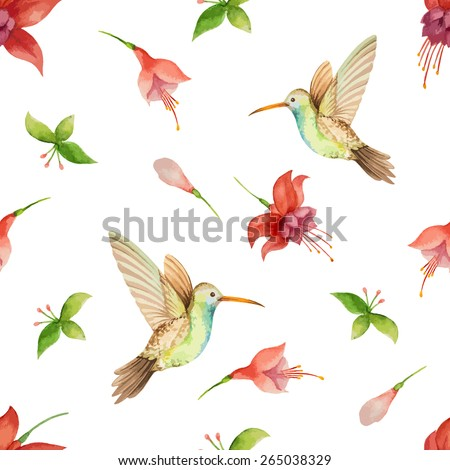 Watercolor pattern, fuchsia flowers and Hummingbird on white background, vector illustration. - stock vector