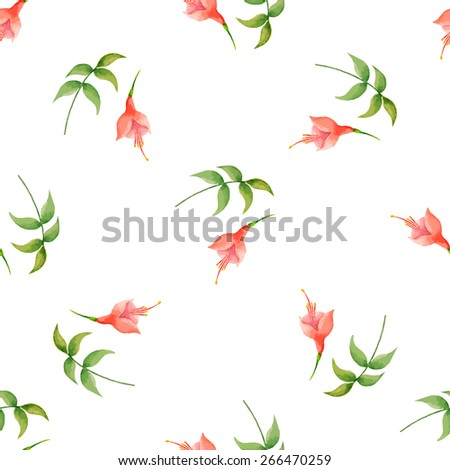 Watercolor pattern, fuchsia flowers and leaves on white background, vector illustration. - stock vector