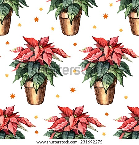 Watercolor pattern with flowers poinsettia. Hand painting. Watercolor. Seamless pattern for fabric, paper and other printing and web projects. - stock vector