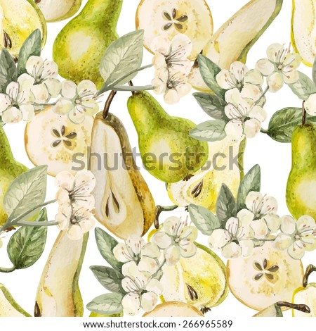 Watercolor Pattern with pears and flowers on a white background. Vector. - stock vector
