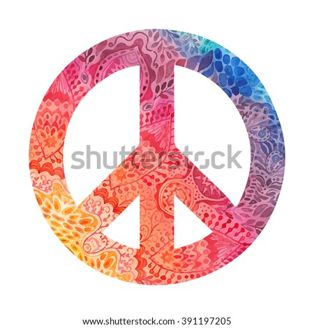 Watercolor peace symbol made of painted zentangles, pacifism sign. Hippie style ornamental background. Love and peace, hand-drawn doodle background. Colorful peace symbol retro 1960s, 70s - stock vector