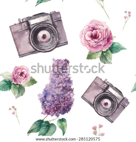 Watercolor photo pattern with white background. Hand drawn seamless texture with photo camera and vintage artistic flowers: roses, lilac, leaves and branches. Vector wallpaper  - stock vector