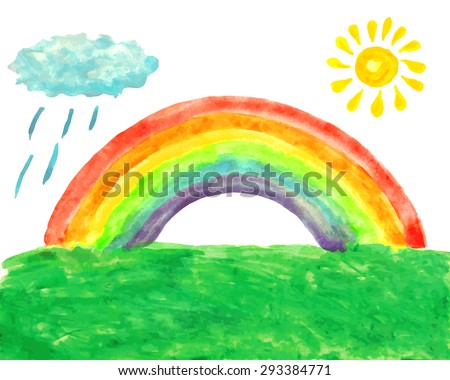 Watercolor picture with rainbow, sun, rainy cloud and grass. Summer landscape. Child's drawing. Vector illustration. Image trace. - stock vector