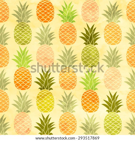 Watercolor pineapple seamless pattern. Pineapple background. - stock vector