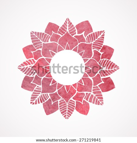 Watercolor pink frame, border with lace flower pattern. Element for design isolated on white background. Oriental indian style. Vector illustration - stock vector