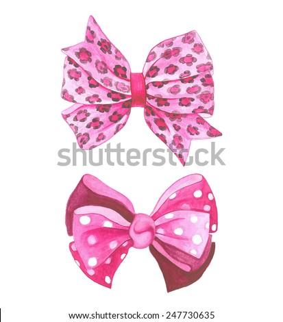 Watercolor pink vector bows. - stock vector