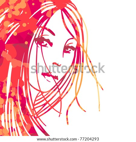 Watercolor portrait of beautiful women isolated on white - stock vector