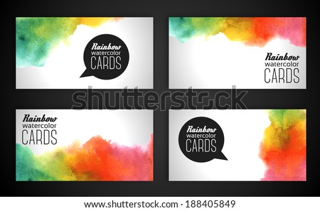 Watercolor rainbow business cards. Vector illustration. Grunge paper template. Water, wet paper. Blobs, stain, paints blot. Composition for scrapbook elements. - stock vector