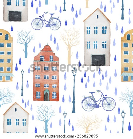 Watercolor rainy city of Europe pattern. Seamless texture with buildings, trees, lamps and rain drops. White background  - stock vector