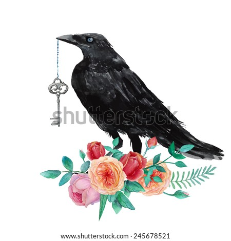 Watercolor raven with vintage key siting on garden roses. Hand drawn artistic blackbird and floral bouquet. Isolated crow illustration in vector - stock vector