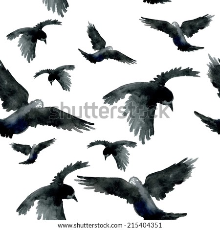 Watercolor ravens seamless pattern. Hand painted. Vector illustration. - stock vector