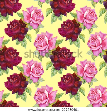 Watercolor red and pink roses seamless pattern.on yellow background vector illustration